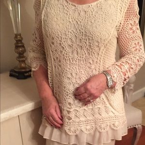 Cristina Tops - Beautiful Cotton Lace Top with Ruffle Bottom
